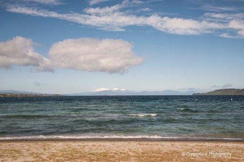 Tongariro National Park behind Lake Taupo